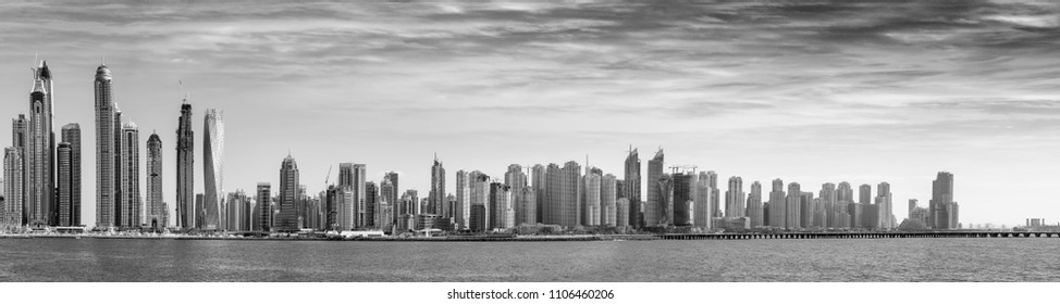 Black and white panoramic view of Dubai skyscrapers, UAE.