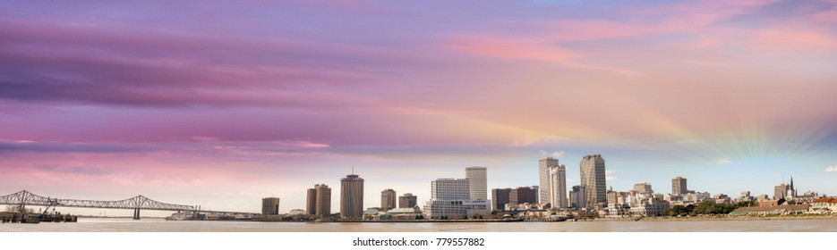 Black and white panoramic view of New Orleans, Louisiana - USA.