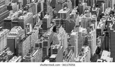 Black and White Panoramic view of tall crowded buildings in Manhattan, New York City
