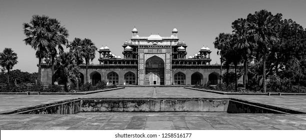 Black and white panoramic view of the tomb of the great Mughal Emperor, Jalal-ud-din Muhammad Akbar, at Sikandra, Agra in Uttar Pradesh, India