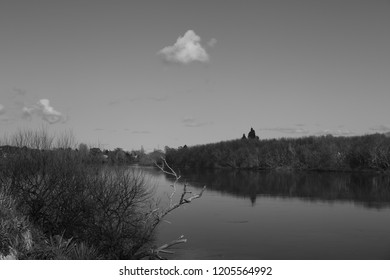 A black and white of a part of the Waikato river in New Zealand.