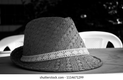 Black and white pattern summer hat photograph