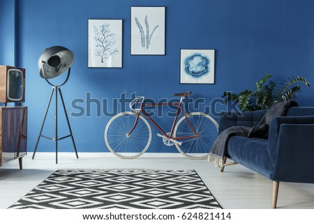 Black and white patterned carpet in trendy blue living room