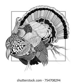 Black and white patterned and textured line art of a Thanksgiving turkey.