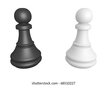 Black and white pawns isolated on a white background