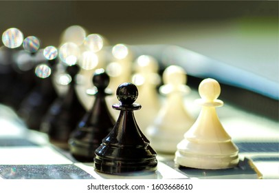 Black and white pawns on chessboard. Chessboard pawns. Black white pawns. Pwans on chessboard