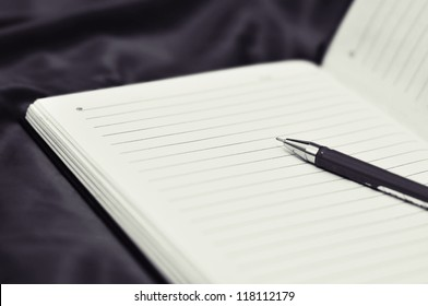 Black and white pen on diary page