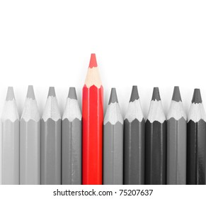 Black and white pencils with on red pencil isolated