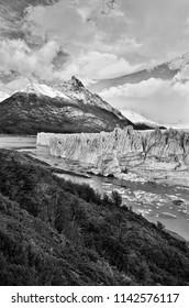 Black and white Perito Moreno glacier mountain landscape, Patagonia, Argentina, South America. Outdoor Patagonia