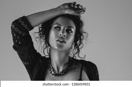 black and white photo beautiful african american model