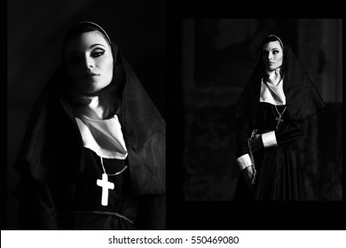 Black and white photo of beautiful, sexy, pretty nun in church. Portrait of very beautiful nun with dangerous, mystical eyesight. Seductive, hot nun looking at camera with cross. Nun with smokey eyes.