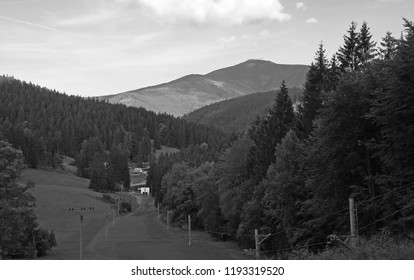 black and white photo of Beskydy mountains