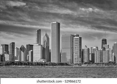 Black and white photo of Chicago city skyline, USA.