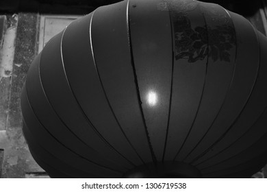 Black and white photo of Chinese lantern