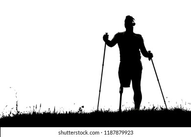 Black and white photo of a confident man standing with Nordic walking sticks while enjoying sport