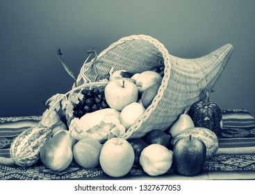 Black and white photo of Cornucopia with fruit and vegetables