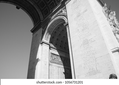 Black and White Photo, Detail view of the Arch of Triumph in Paris,France