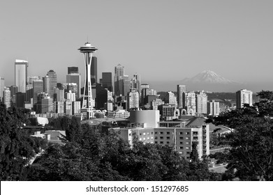 Black and white photo of downtown Seattle, USA