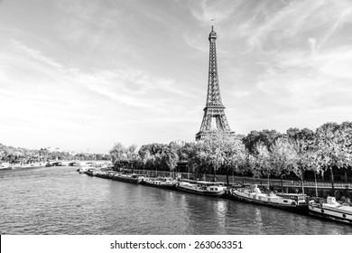 A black and white photo of an Eiffel Tower and buildings, Paris, France