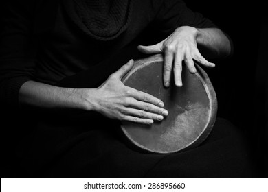 black and white photo of hand drum
