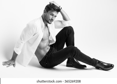 Black and white photo of handsome model