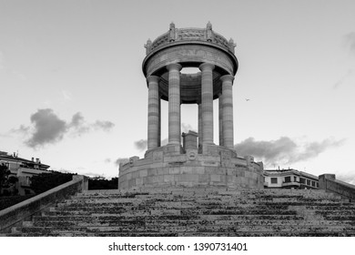 black and white photo of historical monument Passetto of the city of Ancona. ancient circular temple. war memorial  ancona