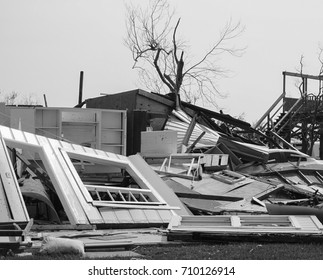 Black and white photo of a house destroyed by the powerful Hurricane Harvey on the Texas Coast