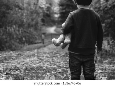 Black and white photo of Kid holding teddy waking alone in the forest, Rear view of a Boy standing alone holding his ted, Spoiled child, lost children or homeless kid concept