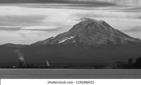 Black and white photo of Mount Rainier with Port of Tacoma in foreground