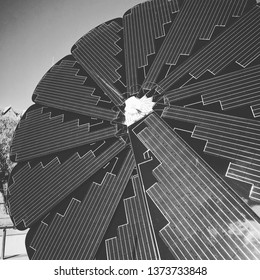 Black and white photo of the new electricty generator, nenewable energy, smart technology. Solar panels in the form of a flower.