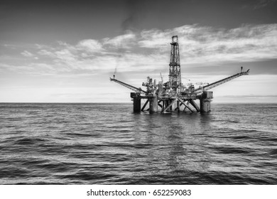 Black and white photo of an offshore oil installation