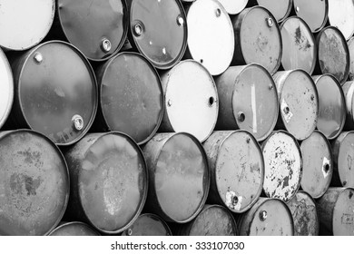 Black and white photo of Oil barrels background texture