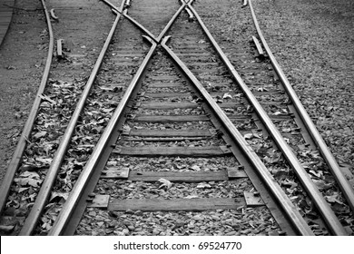 Black and white photo of old railway