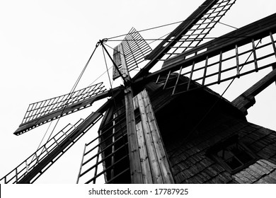 Black and white photo of the old windmill (Latvia)