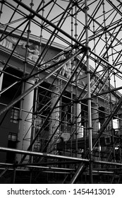 black white photo of scaffolding on the background of the theater