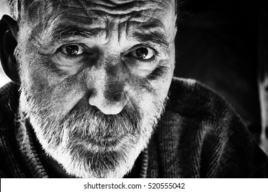 Black and white photo of senior man