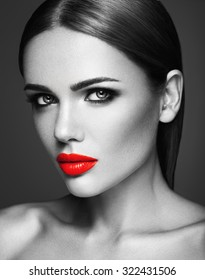 black and white photo of sensual  beautiful woman model lady with red lips and clean healthy skin face