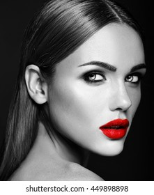 black and white photo of sensual glamour portrait of beautiful woman model lady with fresh daily makeup with red lips color and clean healthy skin face