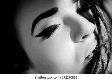 Black and white photo of sensual woman