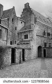 Black and white photo of some remarkable houses in Middelburg, Holland