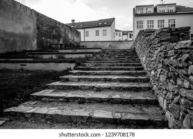 Black and white photo taken inside the old fortress in the city of Znojmo, South Moravia, Czech Republic.