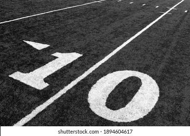 Black and white photo of Ten Yard Line