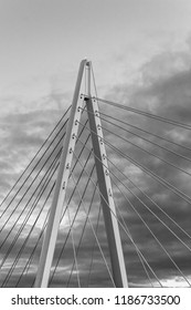 Black and white photo of the top section of the northern spire suspension bridge in Sunderland opened in 2018