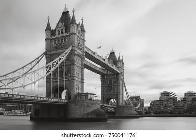 Black and White photo of Tower Bridge in London, Uk.