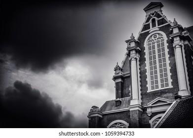 Black and white photo of Westerkerk church in Amsterdam