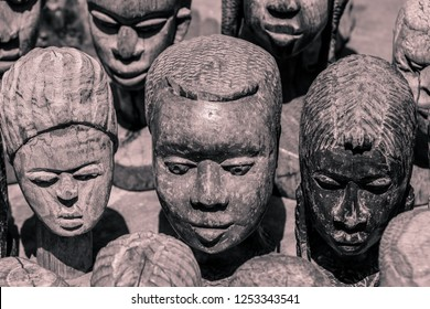 Black and White Photo of the Wooden Voodoo Doll Heads on the Akodessewa Voodoo Fetish Market, Togo, Africa