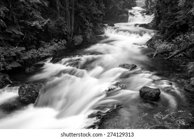 Black and white photograph of Koosah Falls in Central Oregon