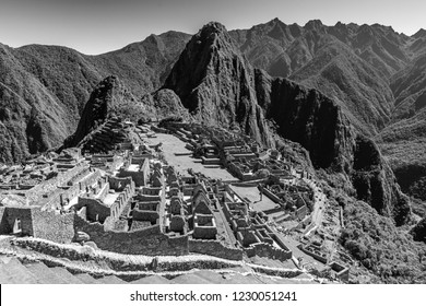 Black and white photograph of the Machu Picchu near Cusco, Peru.