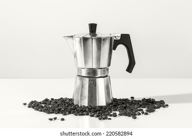 Black and white photograph of a metal coffee percolator for brewing Italian espresso coffee