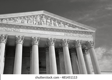 Black and White Photograph of the United States Supreme Court in Washington DC